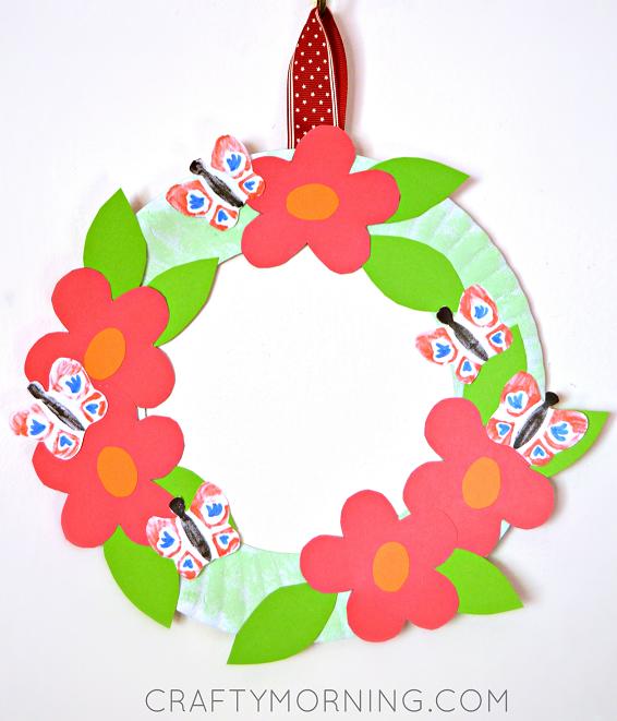 Paper Plate Flower Garden Wreath (Kids craft for spring or summer!) - Crafty Morning