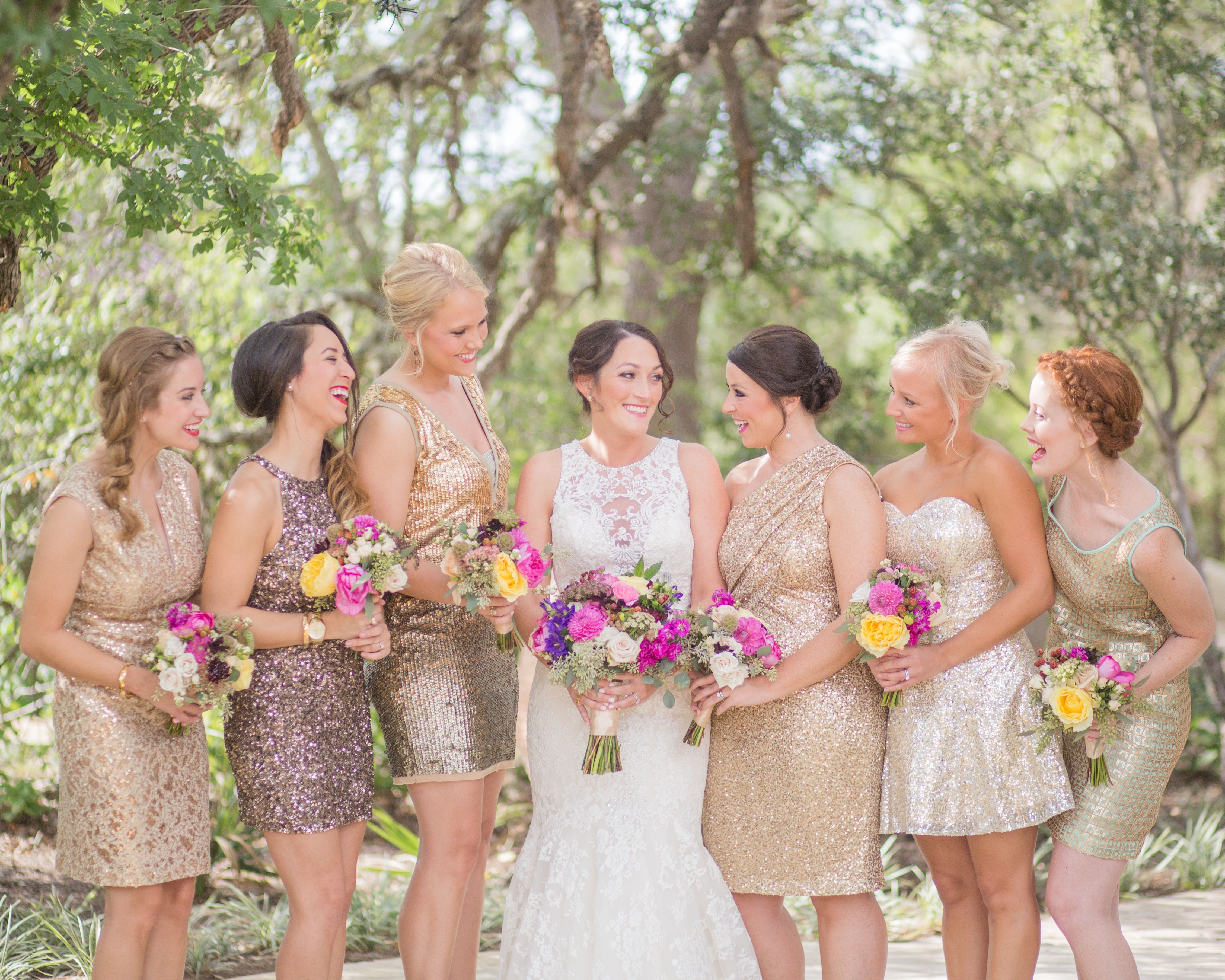 Short gold sequin bridesmaid dresses and pink and yellow bouquets short gold sequin bridesmaid dresses and pink and yellow bouquets ombrellifo Images