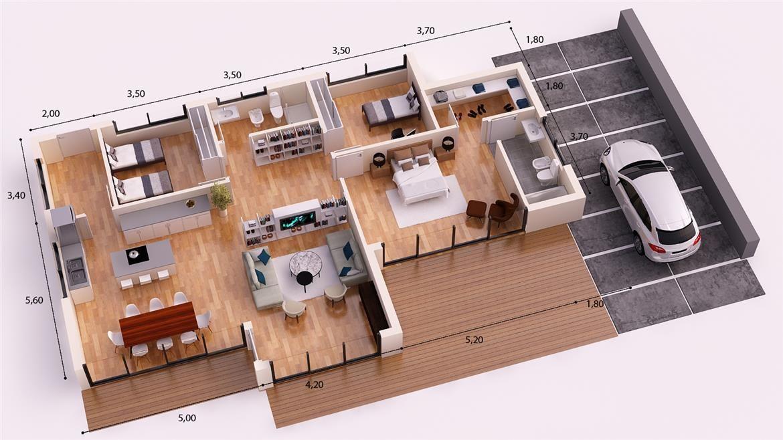 Paris donacasa 180m2 hormig n celular con trasdosado tejado plano decoraci n casas planos - Casas hormigon celular ...