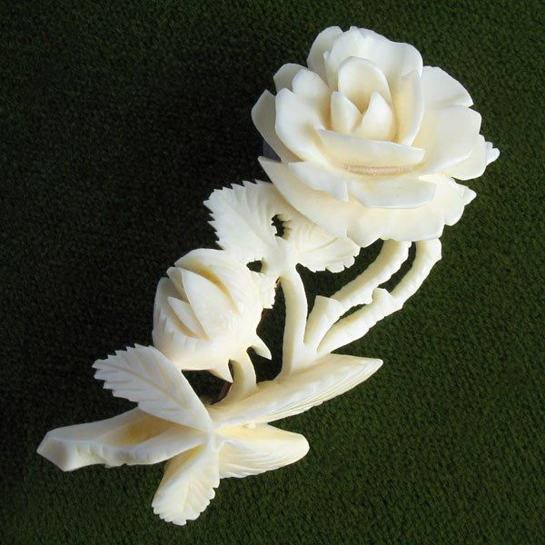 Vintage Carved Ivory Celluloid Rose Flower Brooch Pin ...