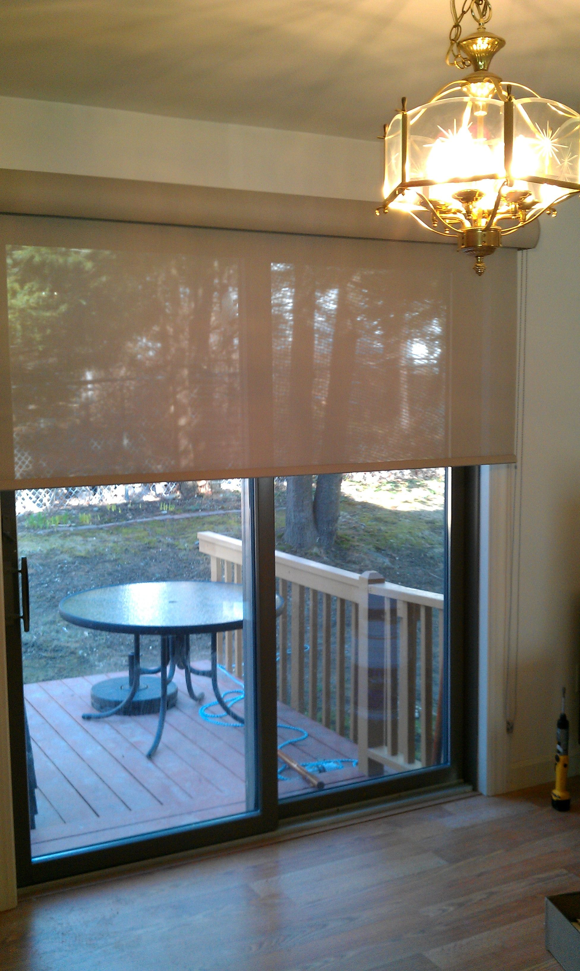 Window coverings over blinds  solar roller shade on a sliding door  window  pinterest  sliding