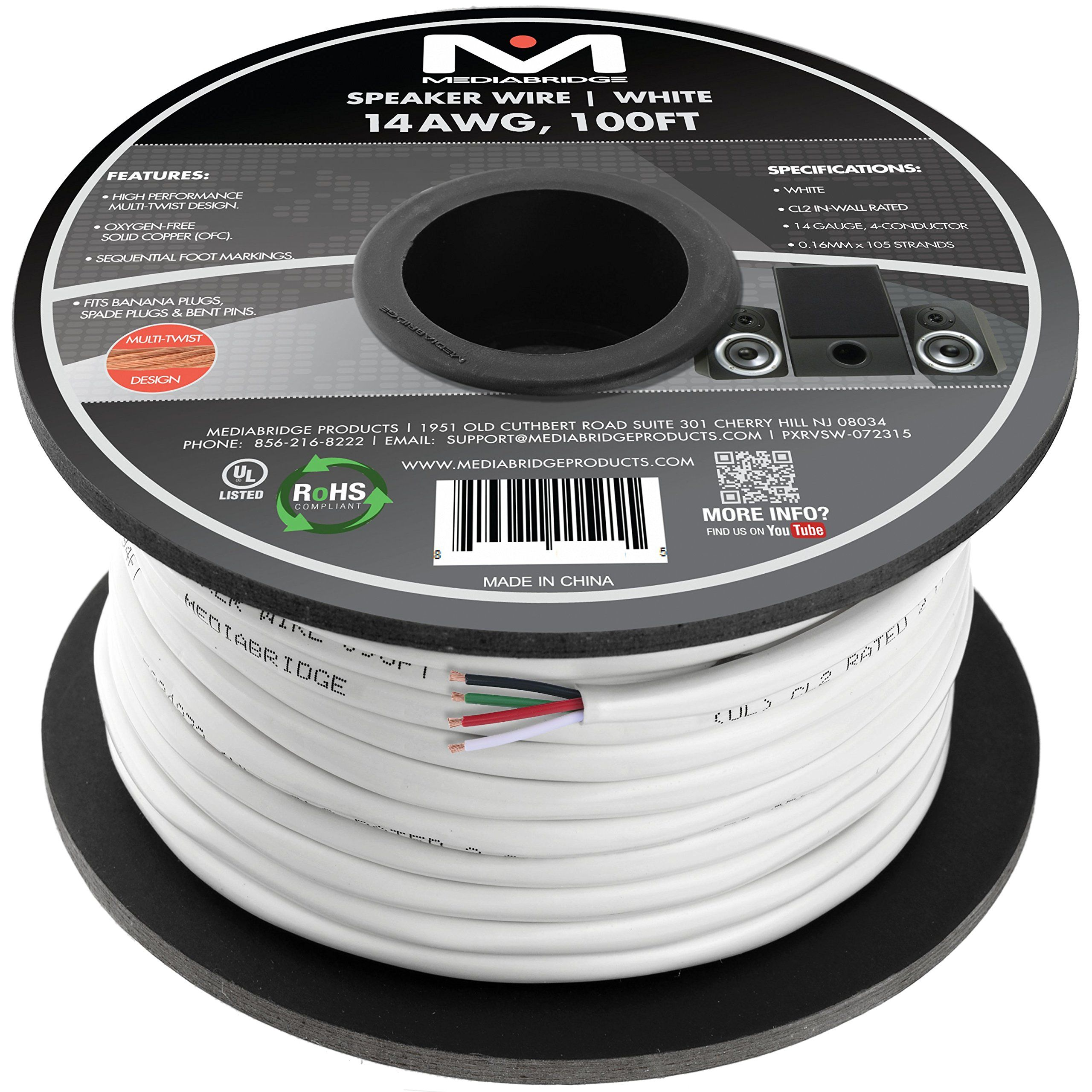 Mediabridge 14awg 4 conductor speaker wire 100 feet white mediabridge speaker wire feet white oxygen free copper ul listed rated for in wall use part keyboard keysfo Choice Image