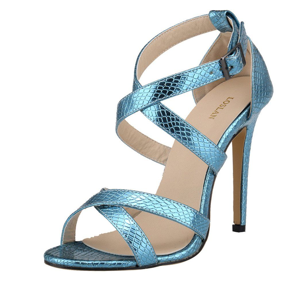 c0e6149e843 ZriEy Women s Sexy High Heel Cross Strap Sandal Crocodile Grain Light Blue  size 8.5