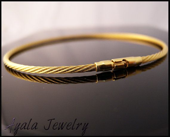 14k Gold Plated Men S Bangle Cable Cuff Solid 925 Sterling Silver Bracelet