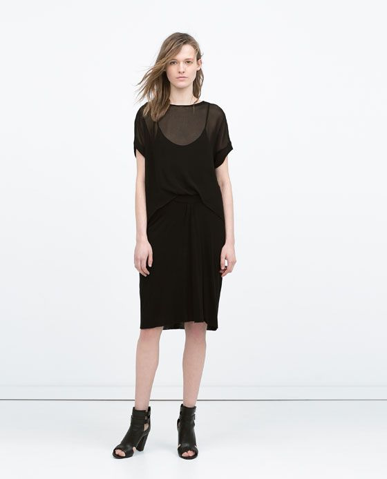 8592af45 Image 1 of DOUBLE LAYER GATHERED DRESS from Zara | Covet | Pinterest ...