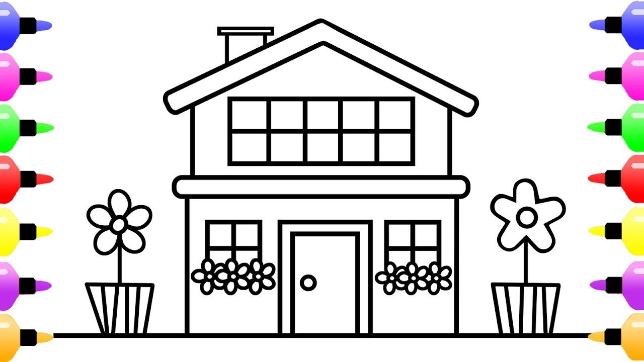 How To Draw House For Children And Coloring Book For Kids With