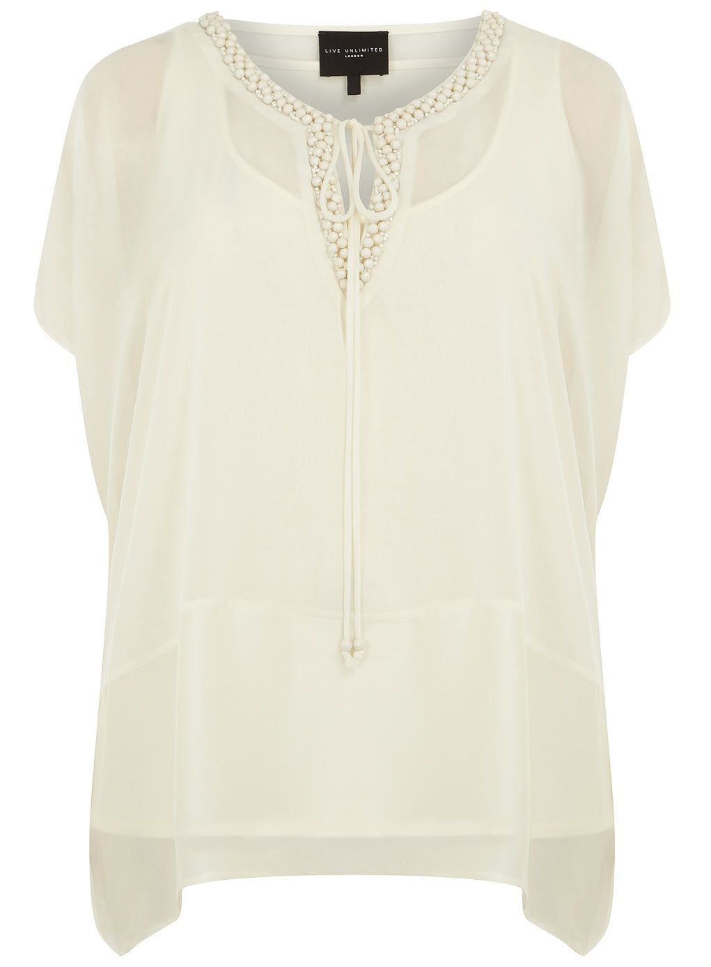 Live Unlimited Ivory Embellished Top > www.evans.co.uk.  Perfect for springtime occasions and summer weddings, we love the sheer look with a full-body cami underneath.