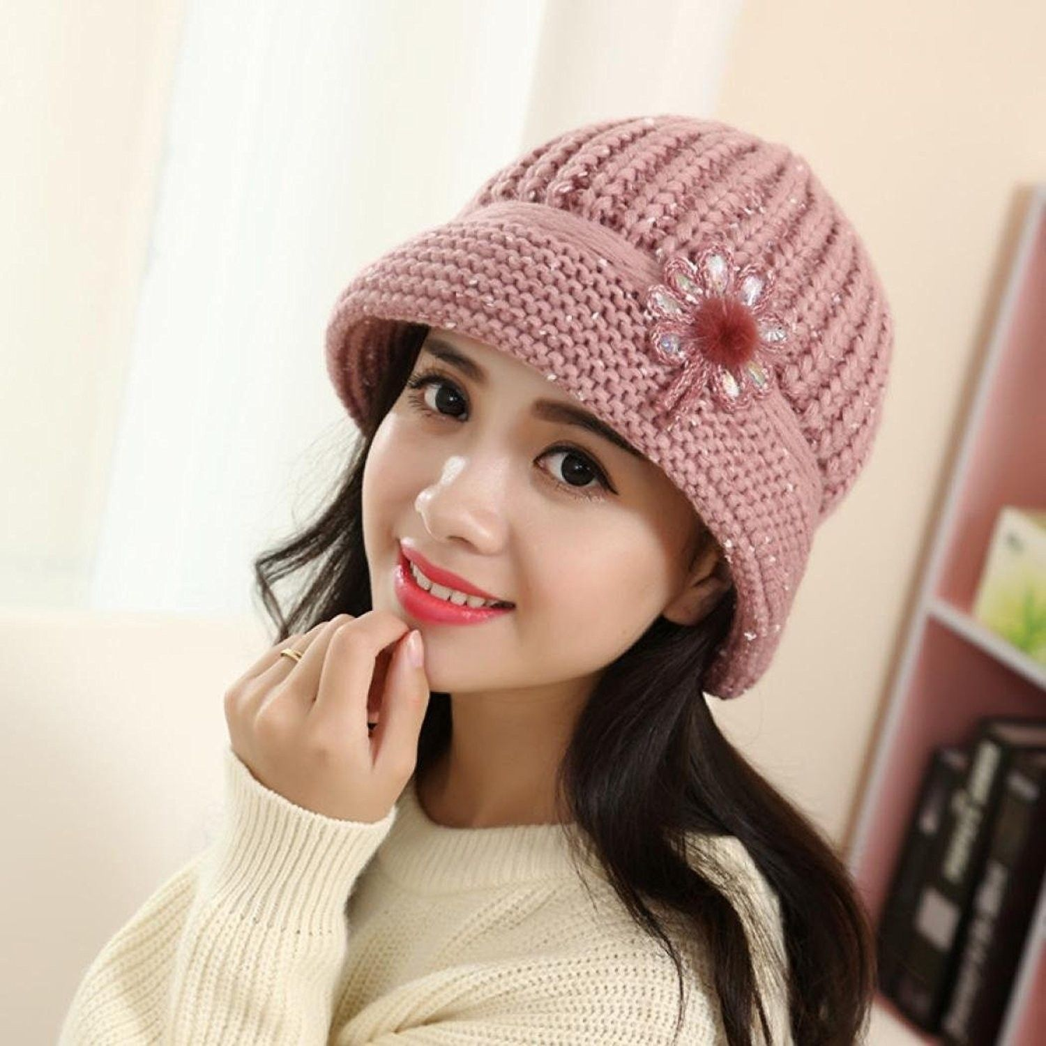 Women Winter Hat- Fashion Lady Warm Beanies Crochet Knitted Flower ... f34a04d9d2e2