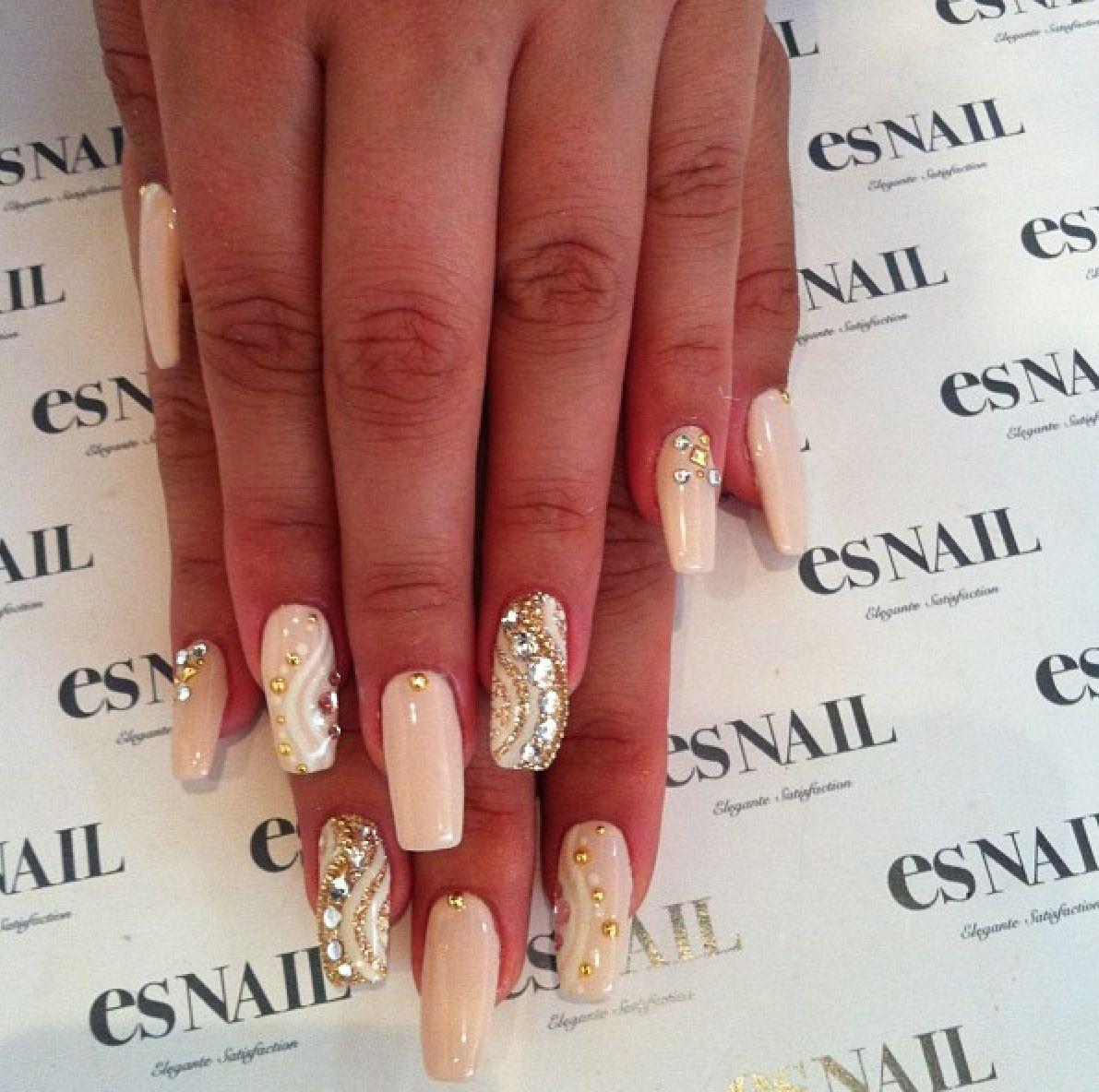 Nude jeweled acrylic nails | Nails | Pinterest