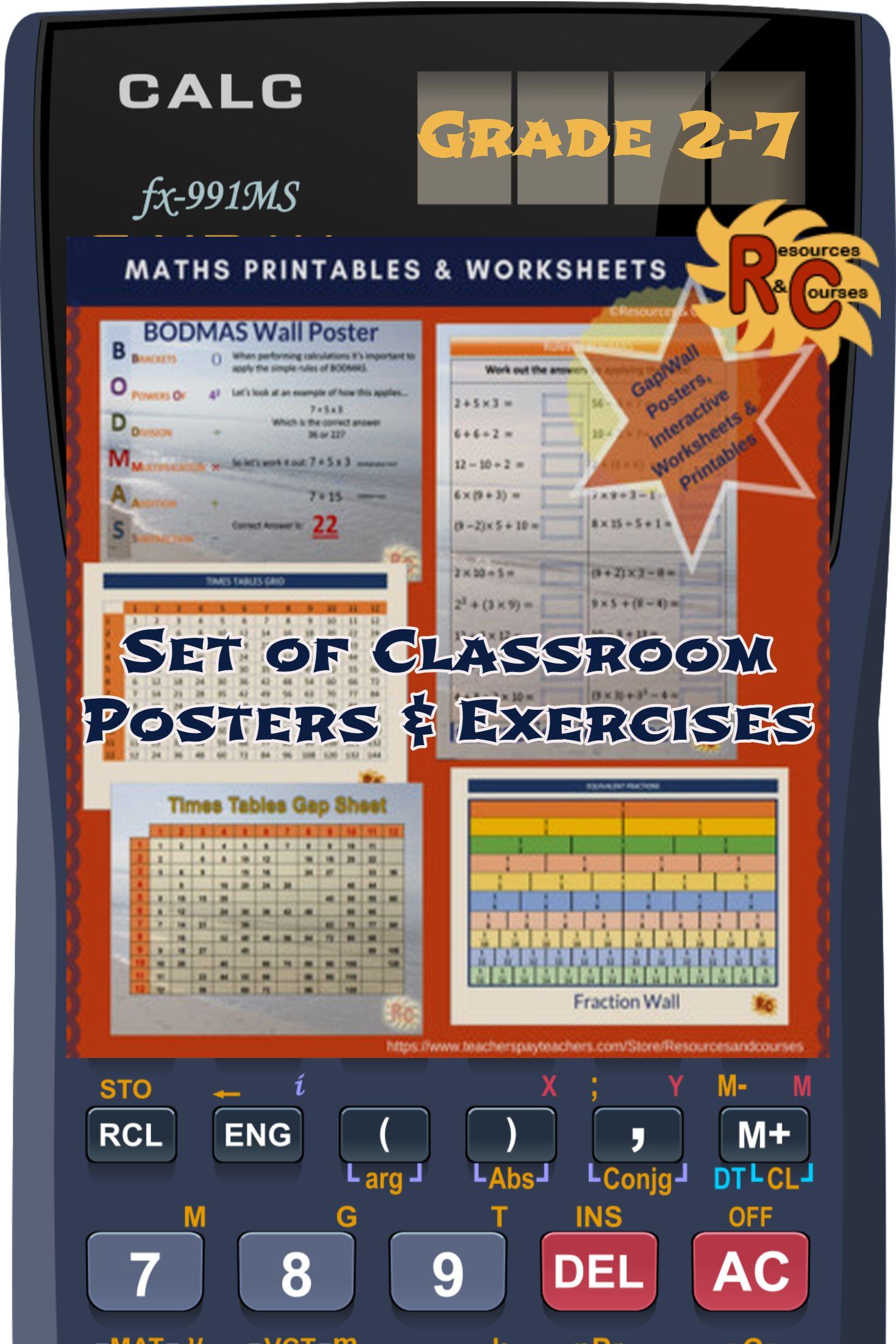 Math Poster Set Amp Exercises Interactive Amp Printable 2nd