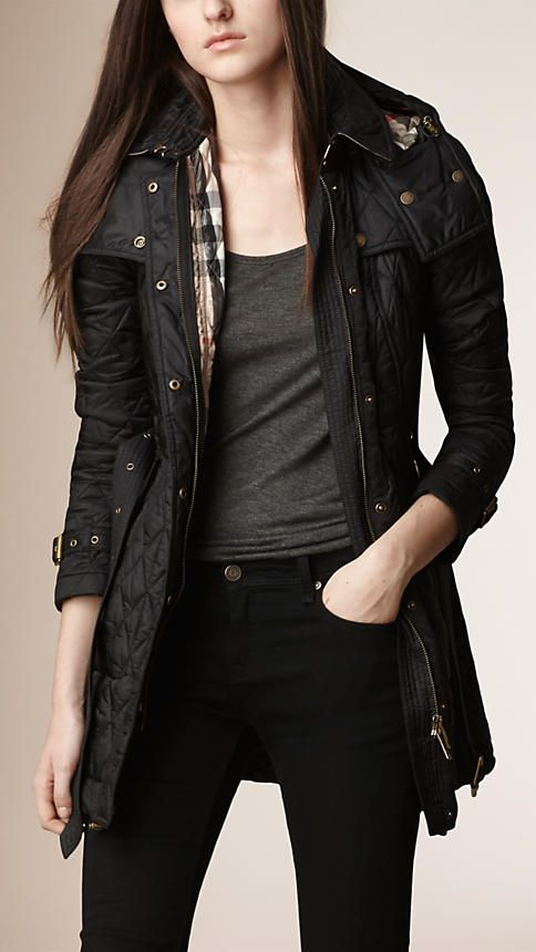 Quilted Jackets & Puffers for Women | Diamond quilt, Black ... : diamond quilted jacket burberry - Adamdwight.com