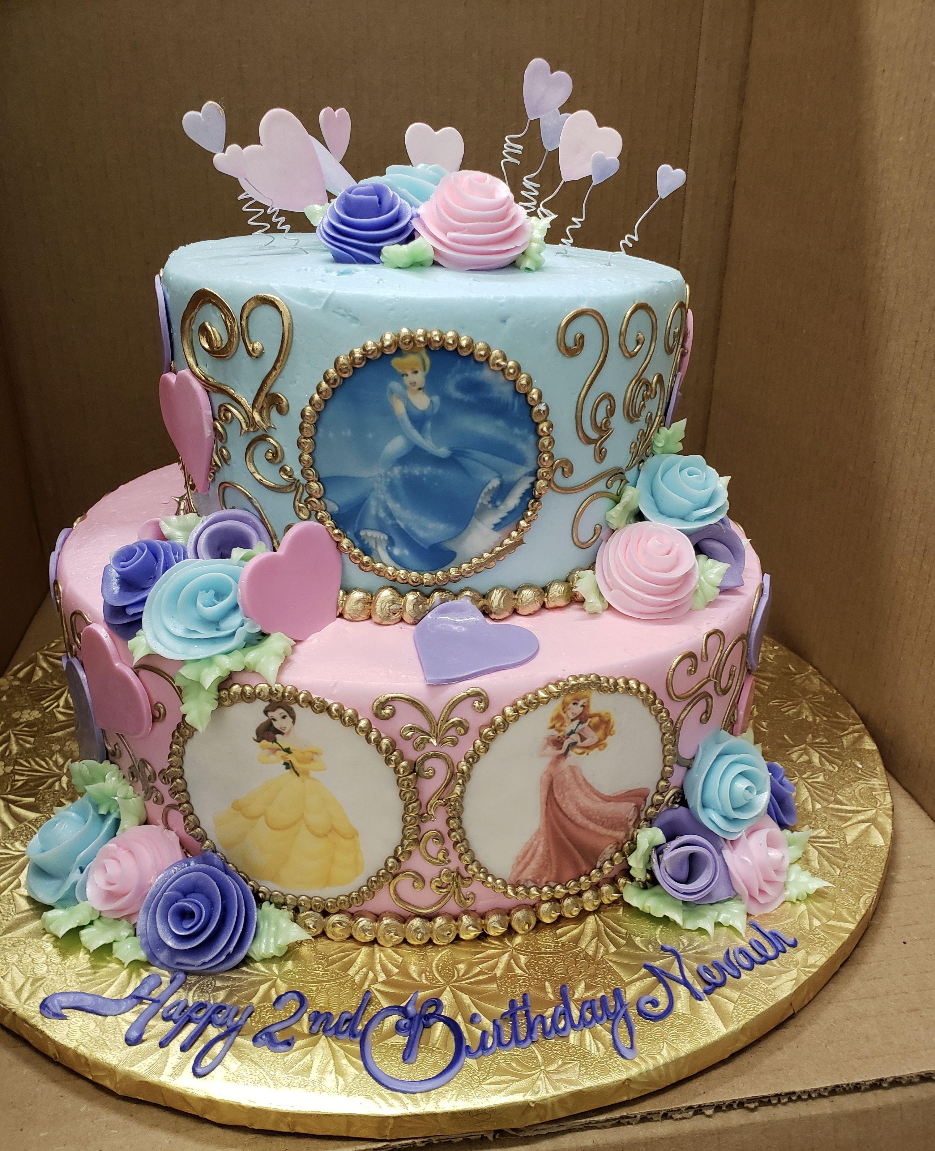 Strange Calumet Bakery Disney Princess Two Tier Birthday Cake Princess Personalised Birthday Cards Epsylily Jamesorg