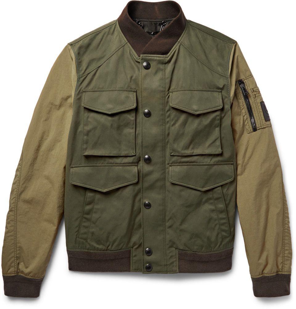 Belstaff Ashvale Panelled Twill And Canvas Bomber Jacket Mens Jackets Mens Designer Coats Mens Canvas Jacket [ 1002 x 960 Pixel ]