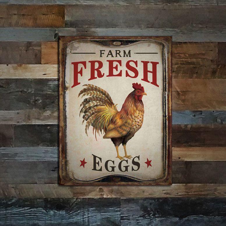 Farm Fresh Organic Eggs Tin Sign