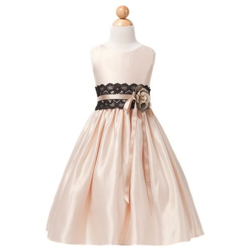 Sweet Kids Girls 12 Champagne Satin Flower Lace Sash Christmas Dress