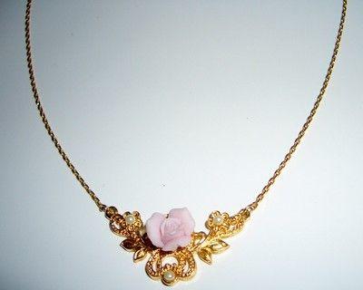 Super pretty vintage porcelain rose necklace!  $4