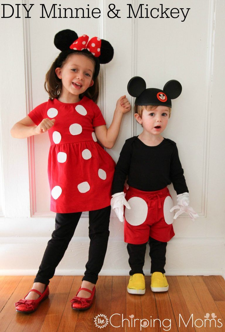 d7e53442bafa Read more about baby costumes. DIY Mickey & Minnie Mouse Costume || The  Chirping Moms. Easy Halloween Costume Ideas for Kids.