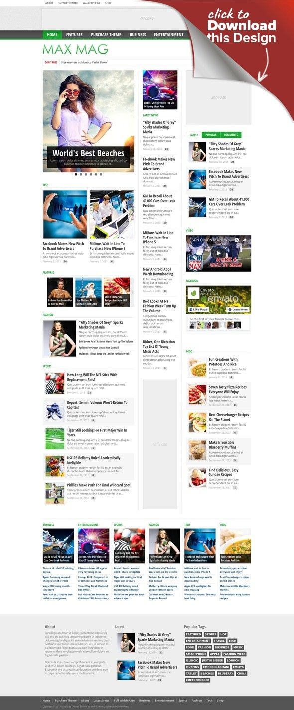 Max Mag - Responsive Wordpress Magazine Theme | Sticky menu ...