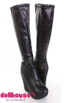 80b84ae627a2 Black Faux Leather Knee High Dollhouse Wedge Boots