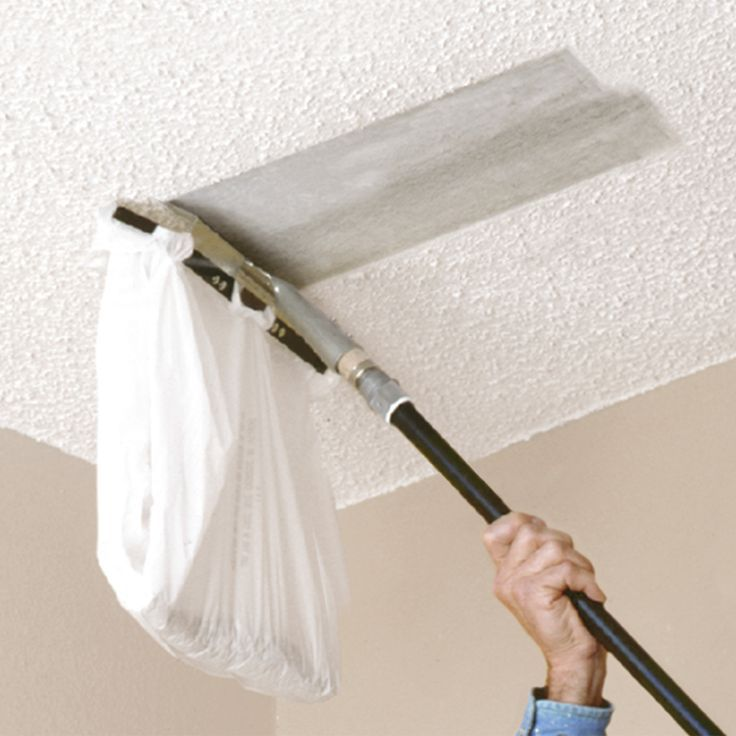 You can attach a plastic bag to this popcorn ceiling for How to remove popcorn ceiling without water