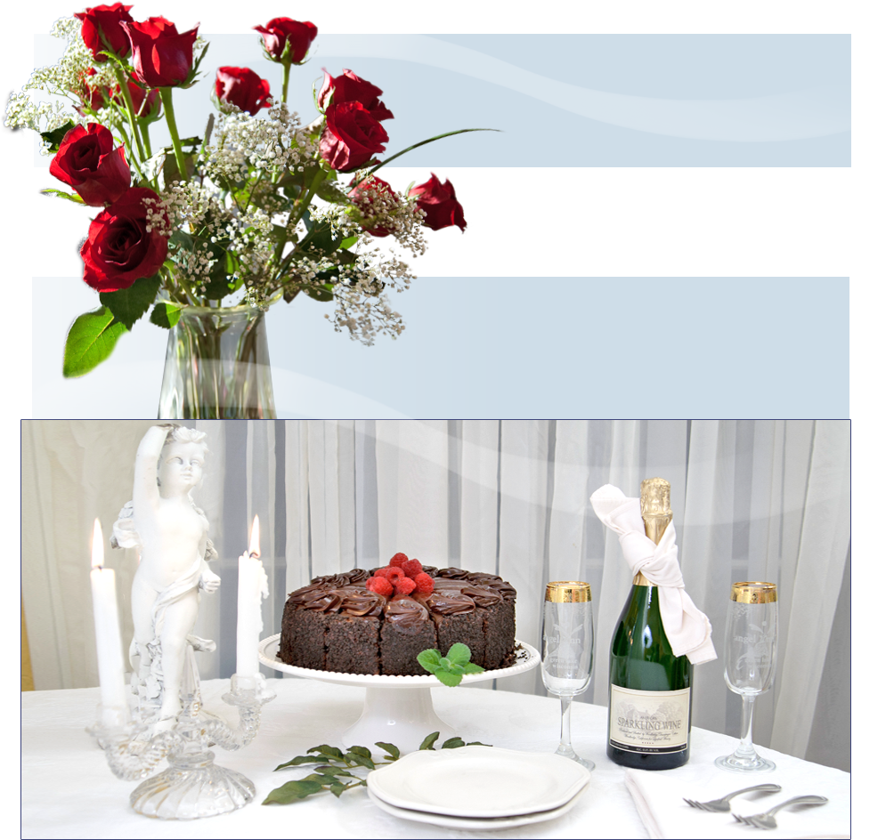 Birthday Cake With Champagne And Flowers Room Birthday Package