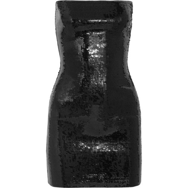 Saint Laurent Strapless sequined jersey mini dress ($3,990) ❤ liked on Polyvore featuring dresses, black, short sequin cocktail dresses, strapless mini dress, 80s dress, strapless cocktail dresses and strapless dresses
