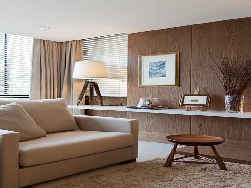 Modern Wood Paneling For Walls With The Curtains Interior