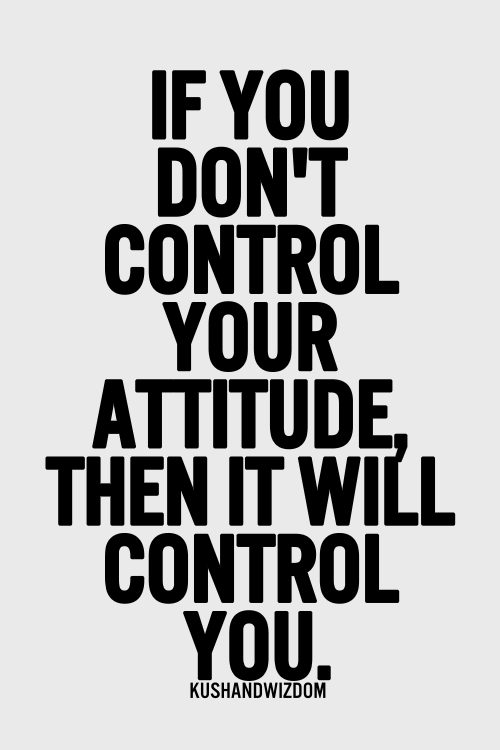 If You Dont Control Your Attitude Then It Will Control You