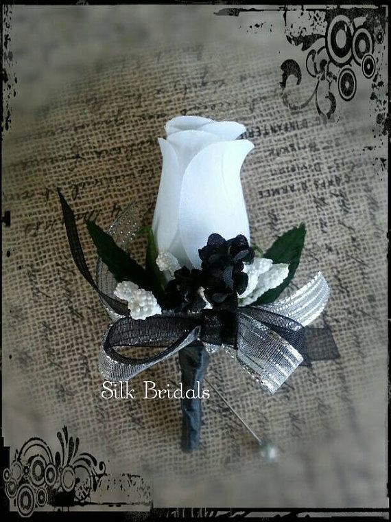 White Black Silver Boutonniere Rose Groom Groomsman Bridal