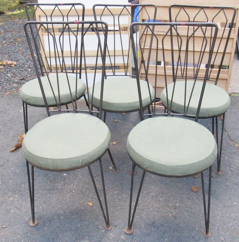 5 Mid Century Antarreni Wrought Iron Kitchen Chairs With