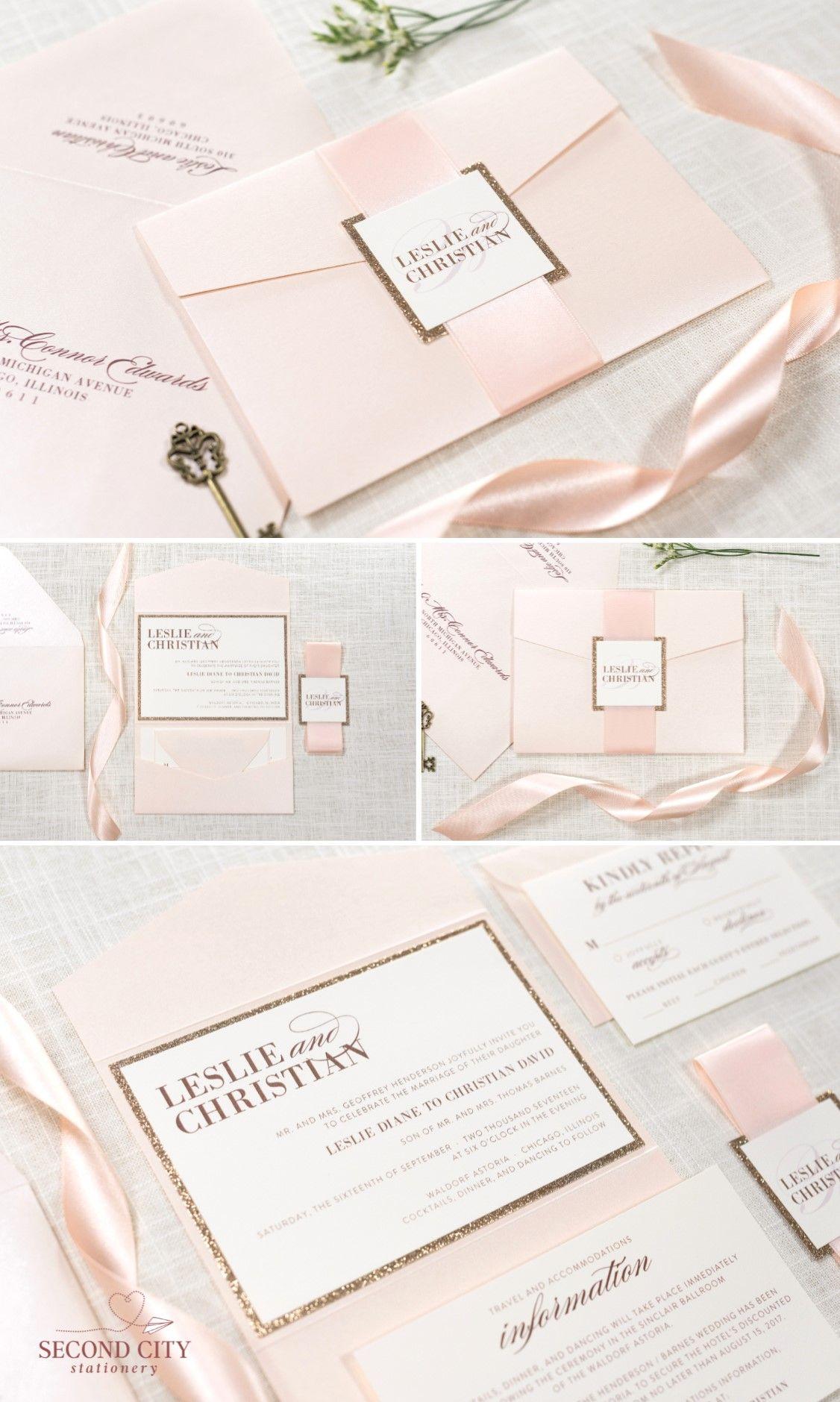 Blush Shimmer, Rose Gold Glitter, and Ivory Pocket Fold Wedding ...