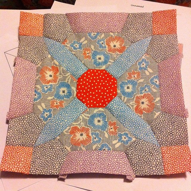"""Whoop! Block one done :) #epp #nelliesniceties #gardenvale #jenkingwell #moda #aurifil"""