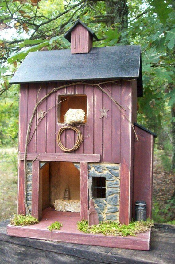 Rustic Birdhouse Farmhouse Primitive House Lighted House Farmhouse Decor