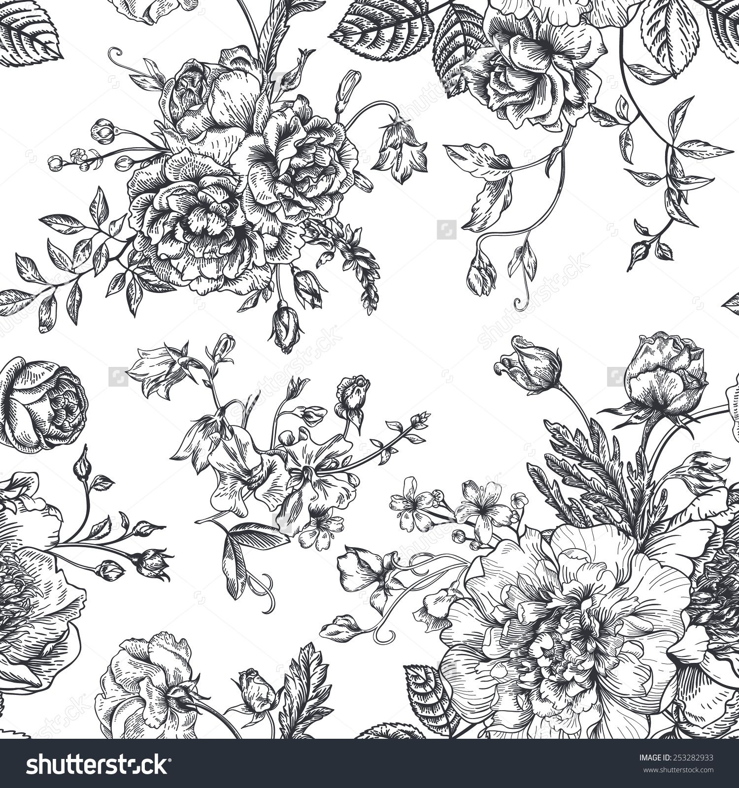 Pink floral seamless vector background floral hrysanthemum seamless - Seamless Pattern With Bouquet Of Flowers