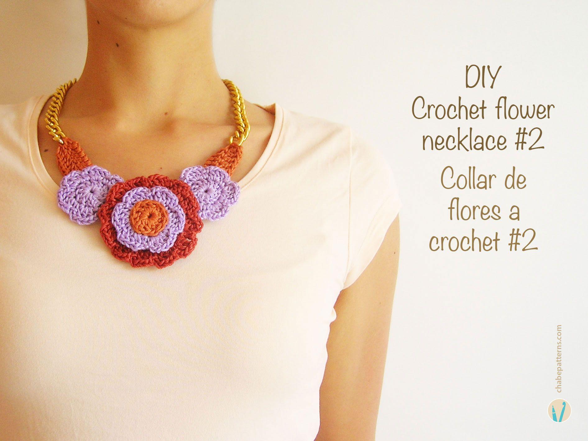 DIY crochet flower necklace #2, free pattern, easy beautiful layers ...