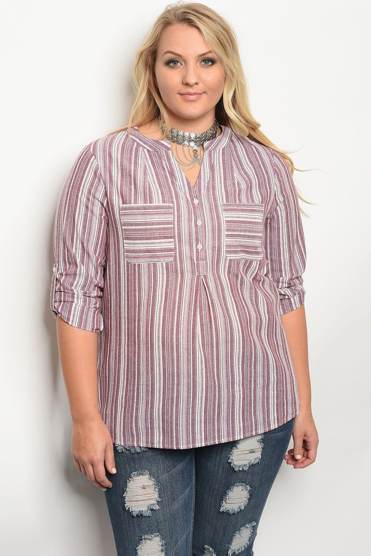 339d6d42761da Plus size 3 4 sleeve striped top with a v neckline