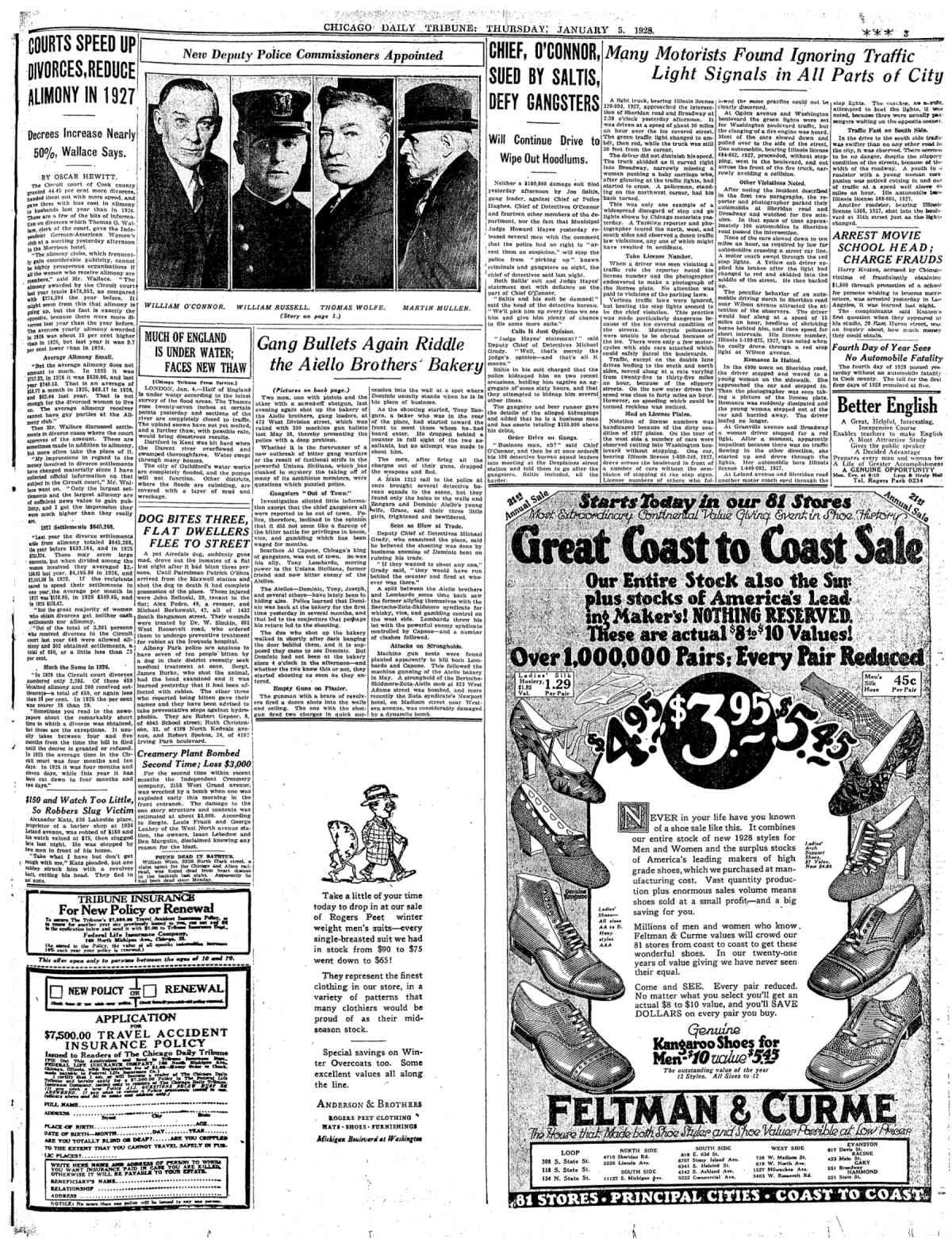 January 5, 1928 - Gang Bullets Again Riddle the Aiello Brothers Bakery | Chicago Tribune Archive