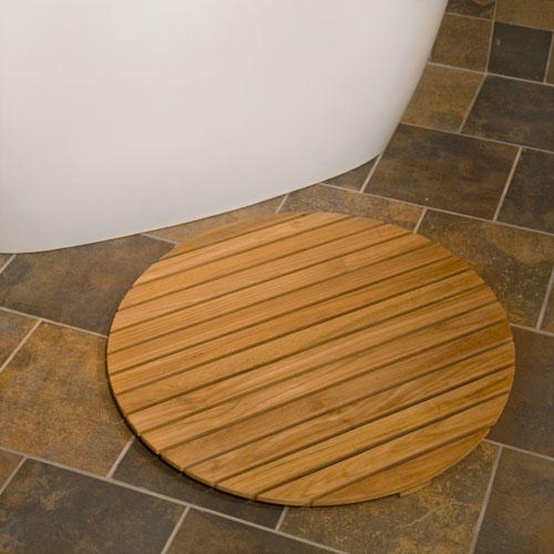 Teak Wood Round Shower Mat 30 Diameter Met Afbeeldingen