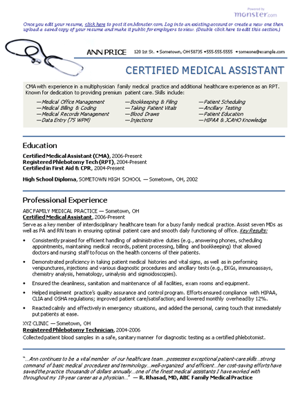 medical assistant resume graduate httpwwwresumecareerinfomedical - Certified Medical Assistant Resume