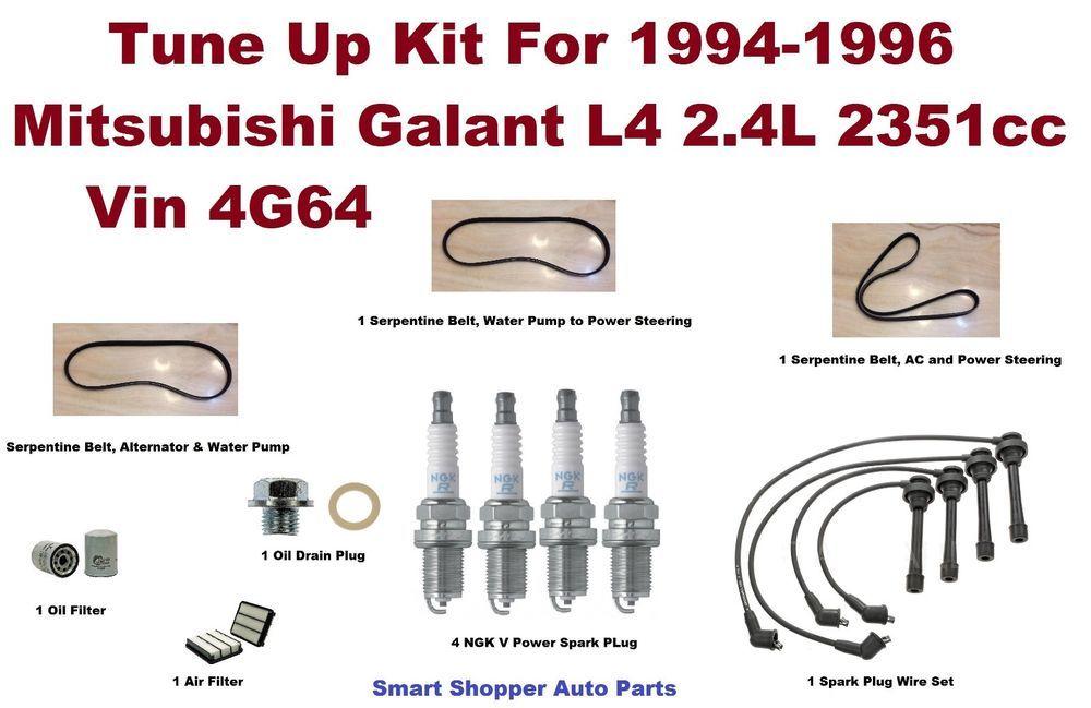 Tune Up Kit 94 96 Mitsubishi Galant Spark Plug Wire Set Oil Filter Serpenti Belt Spark Plug Oil Filter Mitsubishi Galant