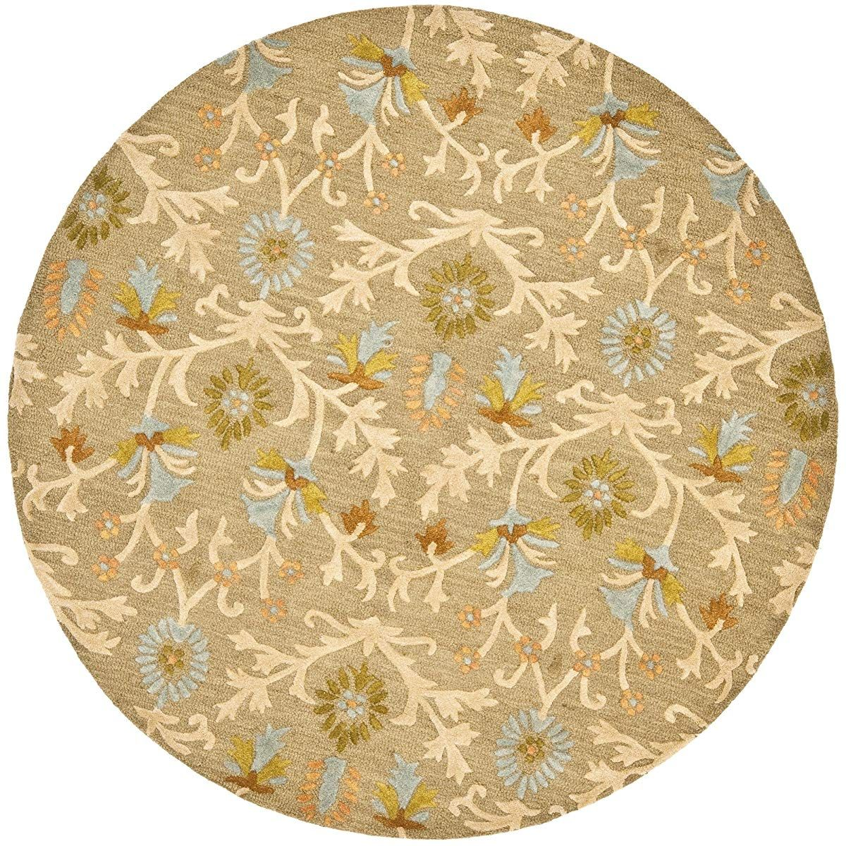 Handcrafted Moroccan Geometric Moss And Multi Premium Wool Round Area Rug Round Area Rugs Area Rugs Wool Area Rugs