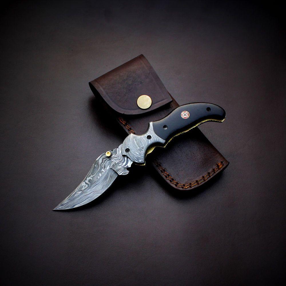 Damascus knife handmade - Liner Lock - folding knife  amazing file work JNR1001