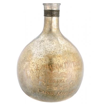 Glass Bottles Decorative Merlot Bottle Antiqued Gold & Silver Glass Bottle With Gold