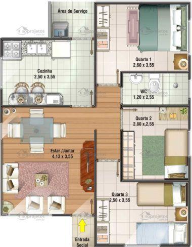 Dicas de plantas de casas at 60 metros quadrados house for Plantas de casas minimalistas
