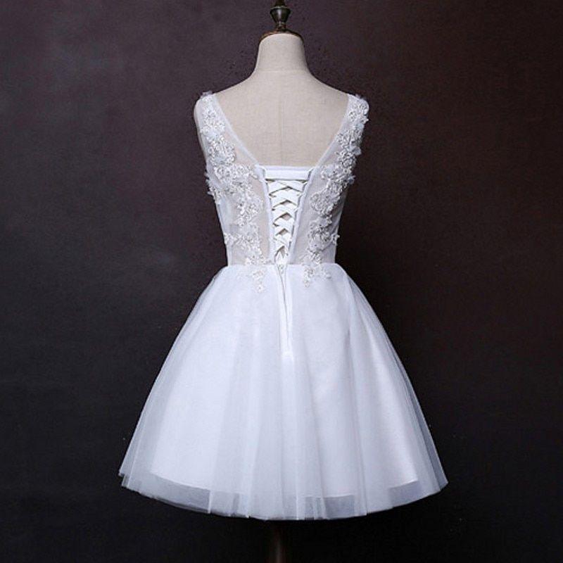 1c17be4fcfa7 White Ivory Lace A-Line Short Wedding Dress - Uniqistic.com