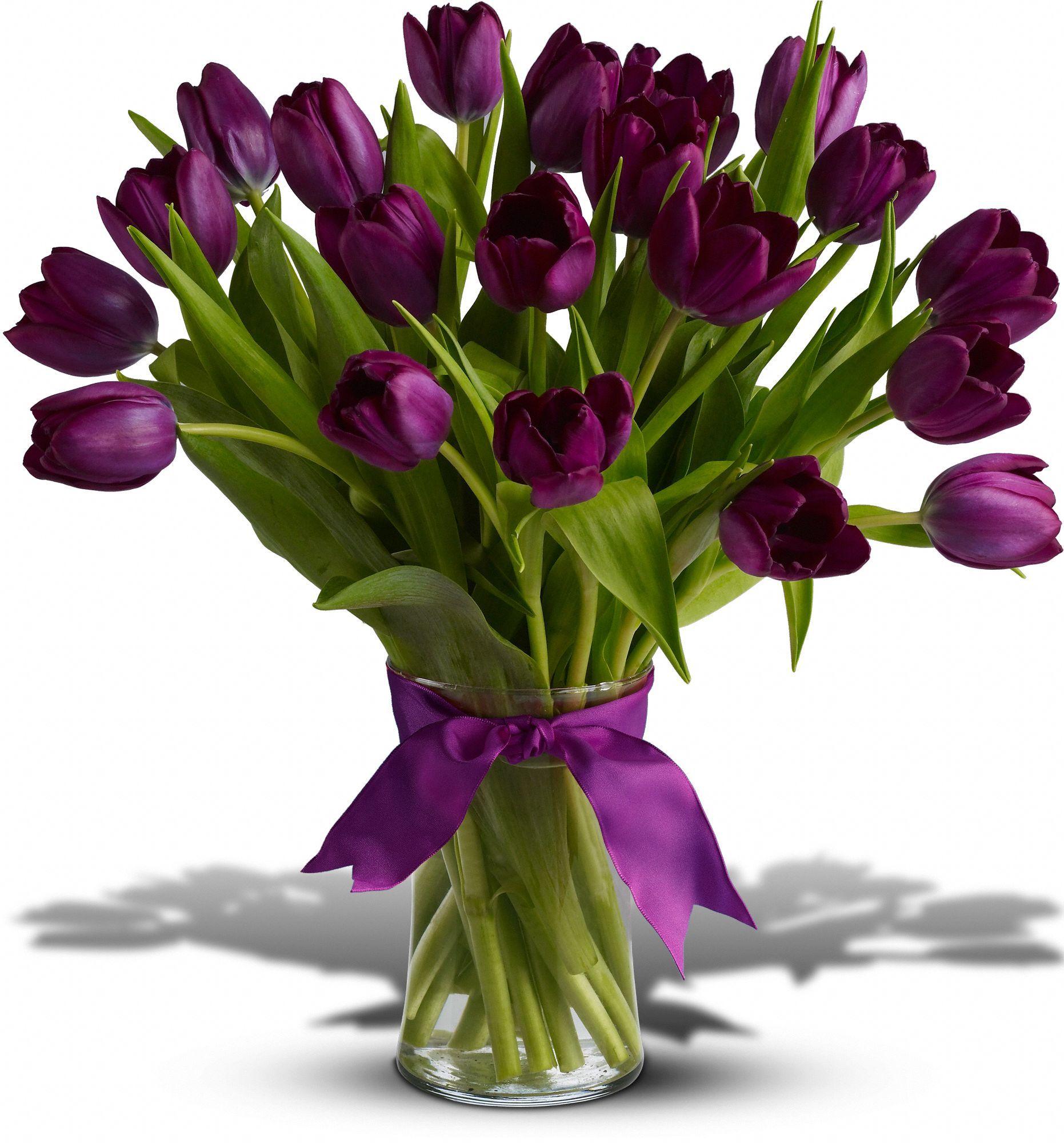 Pin By Sandy Smothers Newey On Color Me Purple Tulips Arrangement Flower Arrangements Tulips Flowers