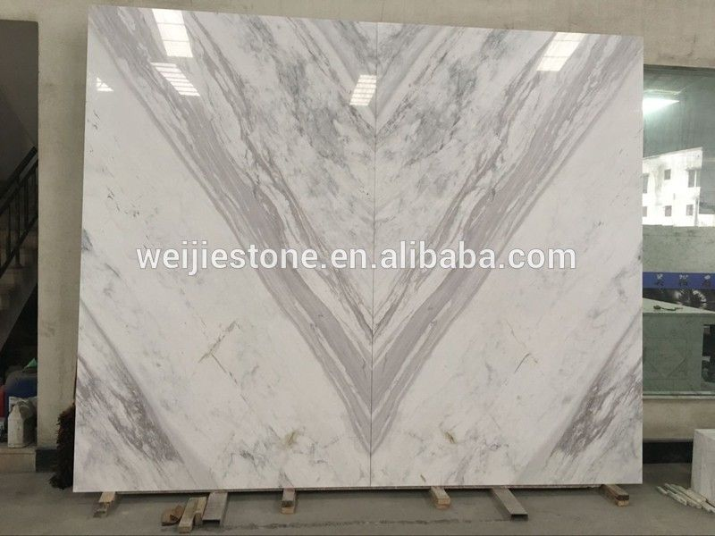 Greece Stellar Volakas White marble with book matched effect for hotel reception wall decor