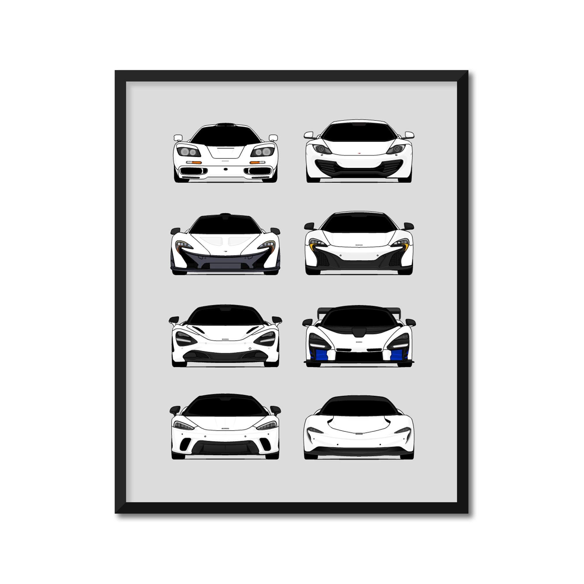 F1, MP4-12C, F1, 650S, 720S, Senna, GT, Speedtail McLaren Generations Inspired Poster Print Wall Art Handmade Decor of the History and Evolution of McLaren Automotive