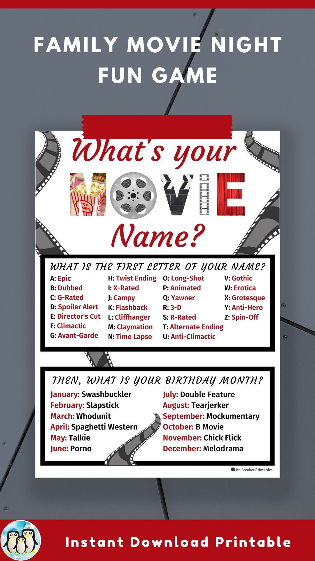 Movie Night Party Game Movie Birthday Party Awards Party Or Red Carpet Party Instant Download Printable Whats Your Name Game Movie Night Party Games Movie Birthday Party Movie Birthday
