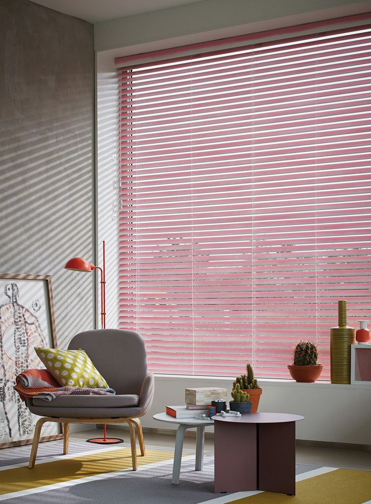 Our pink styled Luxaflex® wood venetian blinds add a stylish pop of ...